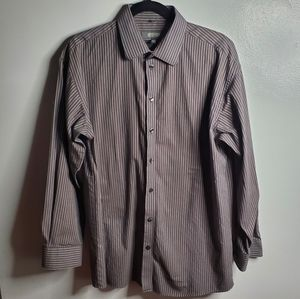 Kenneth Cole Reaction Brown Stripped Button Up